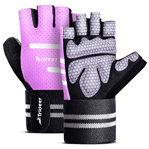 """Trideer Ventilated Workout Gloves for Men Weight Lifting, Gym Exercise Gloves, Weight Lifting Gloves with 19"""" High Elastic Wrist Strap, Suit for Dumbbell, Fitness, Cross Training (Purple, Medium)"""