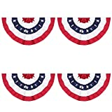 American Pleated Fan Flag,3 X1.5 Ft USA Patriotic Flag Bunting Half Fan Banner Decoration Indoor/Outdoor(Set of 4)