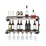 Industrial Wine Racks Wall Mounted with 7 Stem Glass Holder,2-Tiers Rustic Metal Hanging Wine Holder,36in Wall Mount Bottle Holder,Pipe Shelves Kitchen/Living Room/Home Wood Wine Shelf