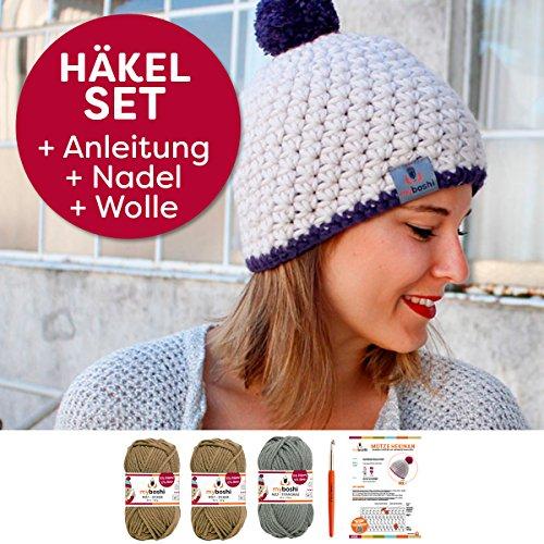 myboshi Häkel-Set Mütze Hekinan | aus No.1 | Anleitung + Wolle | mit passender Häkelnadel | Ocker Titangrau
