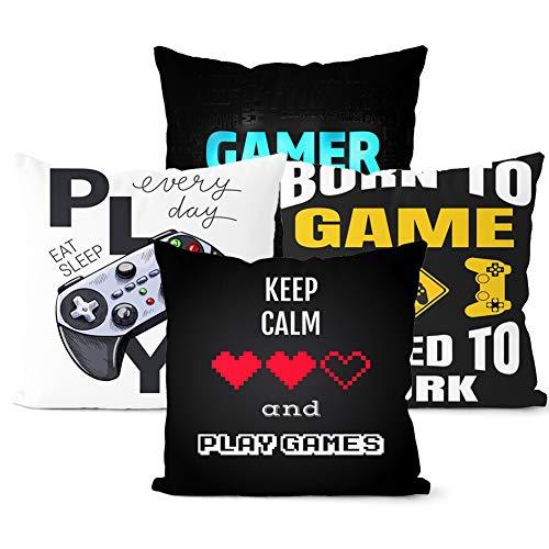 TRRY Fundas de Cojín de Videojuegos, 4pcs Game Among Us Throw Pillow de Almohada Decorativas para la Sala de Estar, Dormitorio, sofá, Silla, Protector de Almohada, Negro