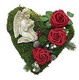 Radami, decorazione per tomba a forma di cuore di muschio a forma di cuore con croce e cuore di lutto e rose, 30 cm, 3 angeli rossi