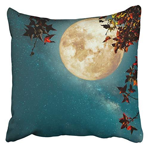 Throw Cushion Cover Beautiful Autumn Fantasy Maple Tree In Fall Season And Full Moon With Milky Way Star Night Skies 50X50 Cm