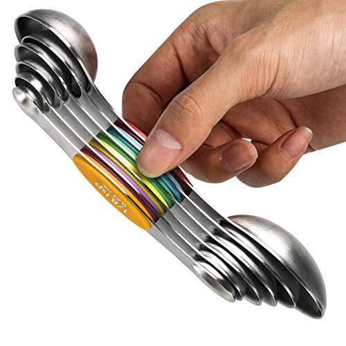 Juego de 6 cucharas medidoras magnéticas de acero inoxidable apilables de doble cara y cucharada para medir ingredientes secos y líquidos