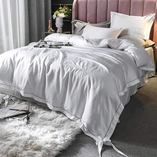 CHHD 4 Piece Bed Sheet Set Double,Solid Satin Silk Bedding Set Home Textile King Bed Clothes Flat Sheet Pillowcases