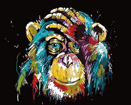 Tirzah Malen nach Zahlen mit Rahmen 30 x 40 DIY Leinwand Tier Bilder für Erwachsene und Kinder Gemälde Anfänger - Bunter Schimpanse (Gerahmte Leinwand, mit Lupe)