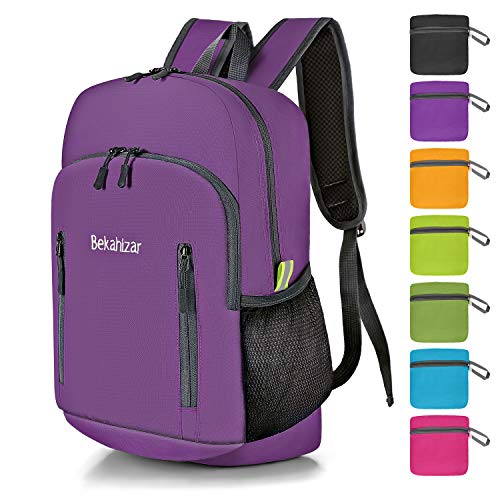 Bekahizar 20L Ultra Lightweight Backpack Foldable Hiking Daypack Rucksack Water Resistant Travel Day Bag for Men Women Kids Outdoor Camping Mountaineering Walking Cycling Climbing (Purple)