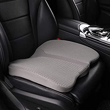LARROUS Car Memory Foam Heightening Seat Cushion,Tailbone  Coccyx  and Lower Back Pain Relief Cushion,for Office Chair,Wheelchair and More  Gray