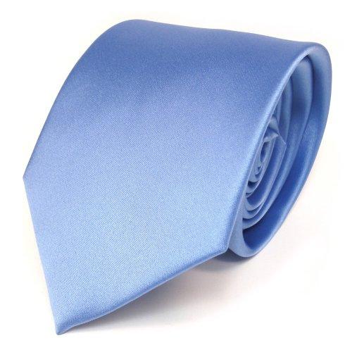 TigerTie Designer Satin Krawatte in blau hellblau einfarbig uni