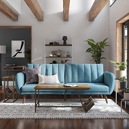 Novogratz Brittany Sofa Futon - Premium Upholstery and Wooden Legs - Light Blue