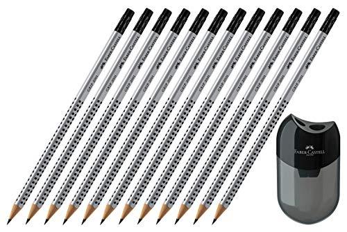 Faber-Castell GRIP 2001 Crayon à papier HB avec pointe gomme (12 crayons + taille-crayon)