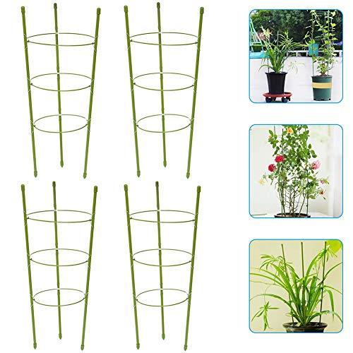 Garden Plant Support Cage, 4PcsReusable Fixed Climbing Plant Adjustable Support Ring, Plant Trellises Flower Support Frames, Plant Fixed Climbing for Garden&Indoors Plants