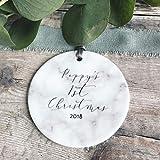Dozili - Decorazione per Albero di Natale Personalizzabile, in Stile Marmo