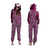 Body Candy Women's Animal Hooded Cute Printed Hoodie Plush Onesie Critters, Purple, Large