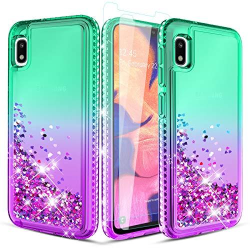 Wallme Samsung Galaxy A10E Case W/Tempered Glass Screen Protector[2 Pack],Glitter Diamond Hearts Flowing Sparkle Bling Bling TPU Phone Case for Girls/Women-Mint/Purple
