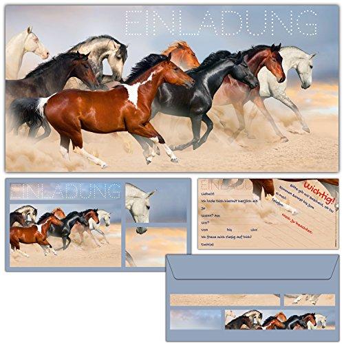 BREITENWERK 12-er Karten-Set Pferde Einladungskarten inklusive Umschläge - Geburtstags-Einladungen für Mädchen Jungen Kinder-Geburtstag Party