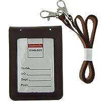 Cmxsevenday C68806 折りたたみ 本物の革 ID カードホルダー 2 IDウィンドウ, 縦型 - 茶色