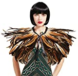 Coucoland Cape de plumes pour femme Style gothique Noir Épaule Cape...