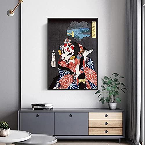 MYBHGRFDG Póster de Arte de Pintura de Lienzo de Geisha Japonesa Tradicional, exposición de Viajes de Japón Oriental, Cuadro de Pared, decoración del hogar | 50x70cm sin Marco