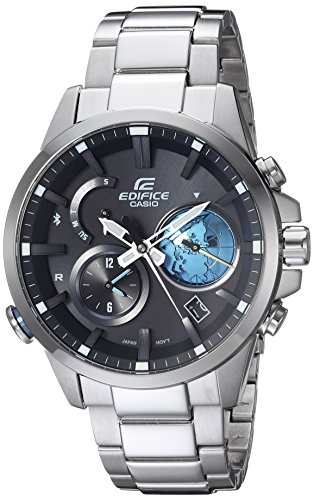 Casio Men's Edifice Connected Quartz Watch with Stainless-Steel Strap, Silver, 12 (Model: EQB-600D-1A2CF)