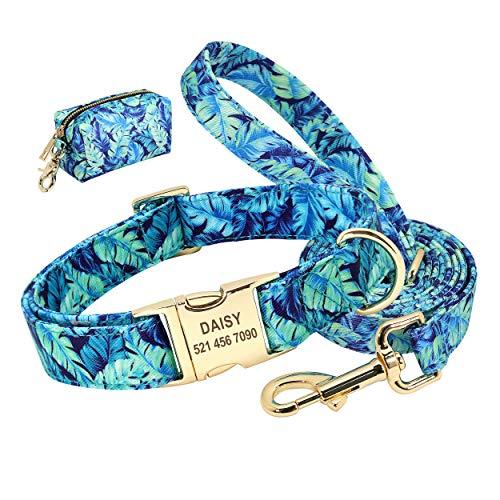 Beirui Juego de collar y correa para perro personalizado con bonita bolsa – con estampado floral láser grabado collares de identificación para mascotas (azul, S)