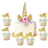 HIFOT Decoracion Tarta Unicornio Cake Topper, 24 Piezas Decoración de Tarta Comida Cupcake para fiesta del bebé, boda y cumpleaños