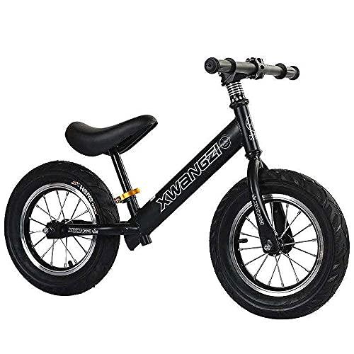DRAGDS Niños Bicicletas12 Pulgadas Bicicleta de Balance sin Pedal Patines Inflables Patinadores Caminando Caminando para Niños de 2 a 6 Años/Negro