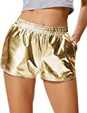 Metallic Loose Fitting Shorts Shiny Bottoms Shorts für Pure Color Fastnacht Golden (862-4) Small