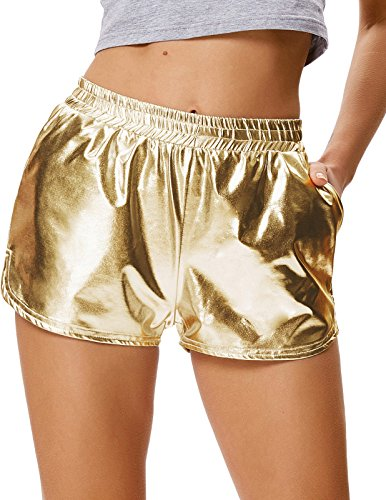 Kate Kasin Metallic Wet Look Hot Pants Shorts Glänzend Fancy Party Disco Fastnacht Damen Sexy Golden (862-4) Medium