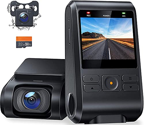 Dash Cam Front and Rear, C550 Dual Dash Cam with SD Card Included, IPS Screen, WDR Night Vision, 170°Wide Angle, WDR, G-Sensor, Parking Monitor, Motion Detection, Loop Recording, Support GPS
