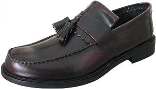 Roamers Mens Leather Mod Tassel Saddle Loafers
