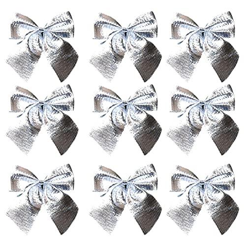 yqs Decorazioni Albero di Natale, 12pcs Ornamenti Natalizi Natalizio a Mano Mini Poliestere in Raso Nastro in Fiocco Fiore Albero di Natale Albero Pendente Fai da Te Decorazione Natalizia