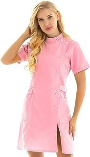dPois Camice da Lavoro Donna Cotone Manica Corta Camice Medico Infermiera con Tasche Casacca da Laboratorio Bianco//Rosa//Blu Divisa Ospedaliero Uniforme Sanitarie
