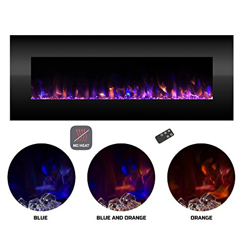 Northwest Electric Fireplace Wall Mounted Color Changing LED Fire and Ice Flames, NO Heat, Multiple Decorative Options and Remote Control, 54'