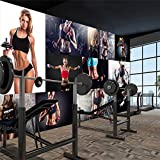 YIERLIFE Murales Decoración 3D pegatinas de pared - Fitness femenino boxeo deporte entrenamiento inspiradoras letras - Fotomural para Pared Fondo Fotomural para Paredes Decoración comedores, Salones,