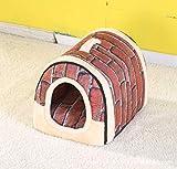HARESLE Casa de mascotas pequeña portátil suave cama casa gato casa lavable con cojín extraíble 2 tamaños (L, ladrillo rojo)