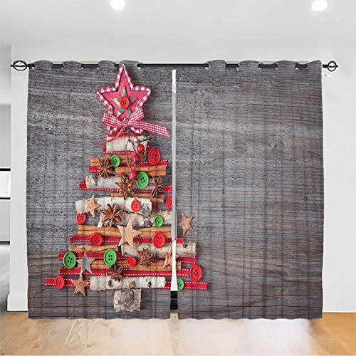 Curtain Panel,Christmas Blackout Curtains Panels,Abstract Cloth Style Tree Concept with Buttons Star Tree Topper Wooden Backdrop,Grommet Top W72xL84.2inch Multicolor