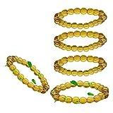Pulsera de limpieza del cuerpo de Jasper amarillo, Pulsera de la riqueza de limpieza de Jade Chakra, pulseras de oro para hombres Pulsera con Pi Xiu Golden Pi Xiu-5PCS