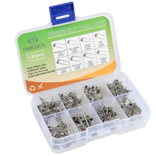 TIMESETL 120Stück Fertig Coils Vorkompilierte Coil Kit, 8-in-1 Widerstandsdraht Coil Set mit 0.3Ω / 0.35Ω/ 0.45Ω / 0.5Ω / 0.8Ω für RDA, RBA, RDTA, 120 Pcs, Fused Clapton, Twisted, Hive, Quad, Tiger