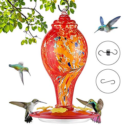 Blue Hand Blown Glass 37 Fluid Ounces Hummingbird Nectar Capacity Include Hanging Wires and Ant Moat REZIPO Hummingbird Feeder with Perch Blue