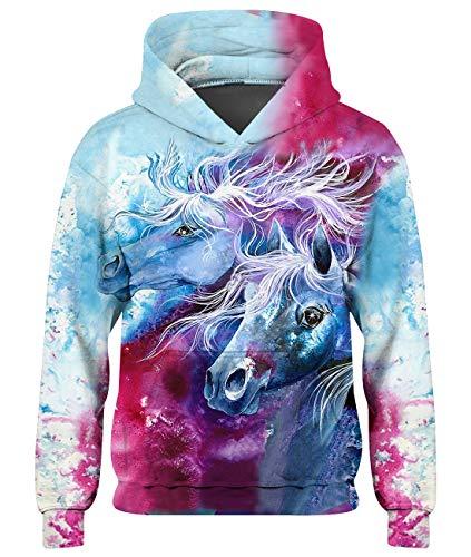 Loveternal Kinder Hoodie 3D Druck Kapuzenpullover Langarm Farbiges Pferd Sweatshirt für Jungen Mädchen mit Taschen Weiß XXL