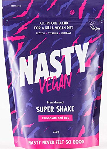 Super Shake - Vegan Protein Shake with Vitamins and Minerals - Chocolate - 350g (10 Servings) - Made in UK - Plant-Based Protein Powder - 100% Natural Ingredients - Registered with The Vegan Society