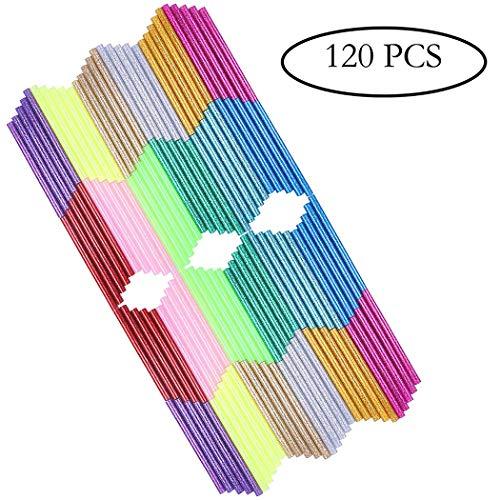 Multicolored Hot Glue Gun Sticks (Huge Bulk Pack of 120) Glitter Bling-Bling Mini Hot Melt Glue Sticks 0.28in x 4in for DIY Coloring(12 Colors)