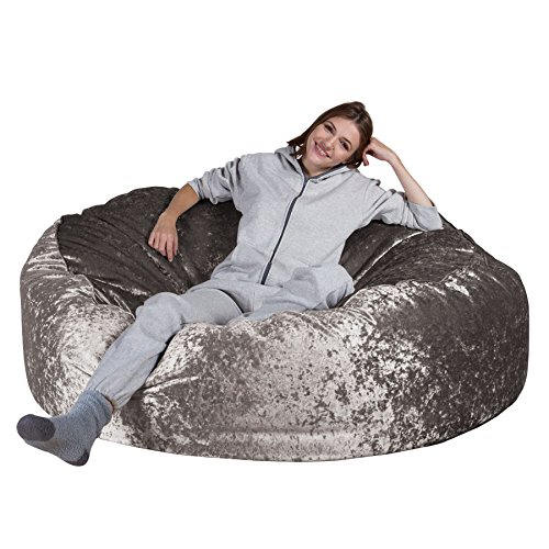 Lounge Pug®, 'Mega-Mammoth' Sofa Sitzsack XXL, Schlafsofa, Retro-Samt Silber