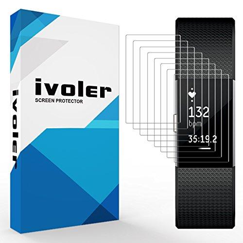 ivoler [Pack de 8] Protector de pantalla para Fitbit Charge 2, cobertura completa [Líquido Instalación] [Antirayaduras] [Sin burbujas] TPU Protector HD Transparente