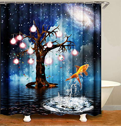 ZZZDZ boom licht vis onder de sterrendecoratie voor binnen. Douchegordijn 180 x 180 cm. 12 haken gratis 3D-print in High Definition Riches.
