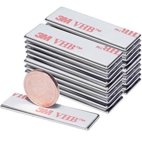 Neodym Magnet Selbstklebend Flach Mini Magnete 30x10x1mm Quader - Bastelmagnete Magnetquader Stark Dünn - Mit 3M Klebepads Quadermagnet 30mm x 10mm x 1mm - 2,5 Kg Stark [20 Stück]