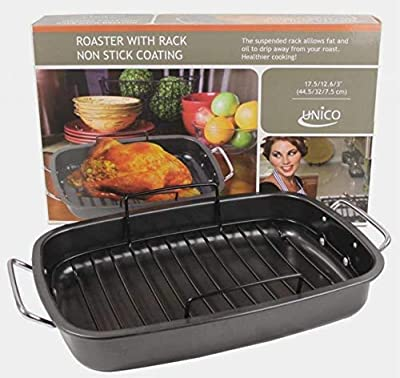 Heavy Gauge, Carbonized Steel, Commercial Kitchen Grade Non-Stick Roaster with Floating Rack for 22 lb Turkey by EuroHome