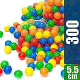LittleTom 300 Bunte Bälle für Bällebad 5,5cm Babybälle Plastikbälle Baby Spielbälle