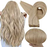 Full Shine Weft Hair Extensions Human Hair 12 Inch Sew in Real Hair Double Weft Hair Color 16 Golden Blonde Highlights 22 Light Blonde 80 Grams Weave in Extensions Human Hair